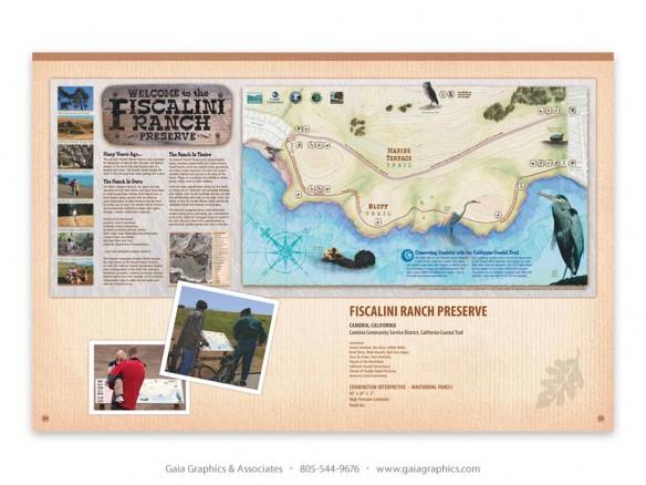 FISCALINI RANCH ~ Cambria, California; combination wayfinding-interpretive panel (pp 30-31)