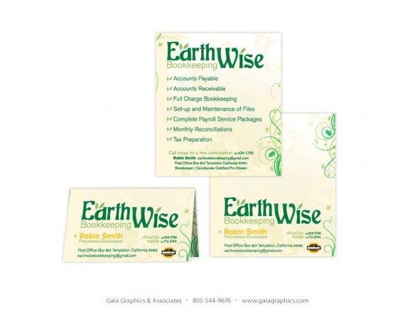 EARTHWISE BOOKKEEPING ~ Business Cards, double-sided color, double and folded to 3.5