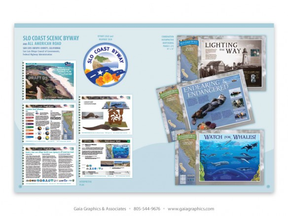 SLO COAST SCENIC BYWAY interpretive plan, interpretive-wayfinding panels, logo/sign ~ Highway 1, San Luis Obispo County north coast; San Luis Obispo Council of Governments, Caltrans, Federal Highway Administration (pp 16-17)