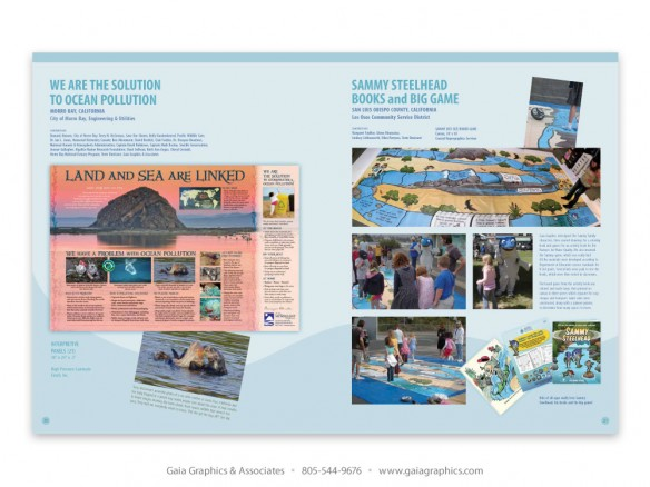 CLEAN WATER ~ Plastic Trash panel (left), Morro Bay, California; Sammy Steelhead lifesize gameboard, Los Osos Community Service District (pp 20-21)