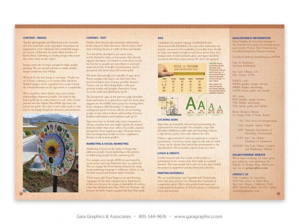 SIGN DESIGN TIPS ~ images, text, social marketing, ADA regulations, font types and sizes (pp 58-59)